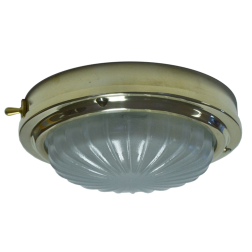 "0392 of Davey & Co. 6-3/4"" High Profile LED Dome Light - Heavy Brass with Red & Warm White LEDs"