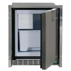 White Ice Maker - Low Profile, Stainless Steel, AC Only, Flush Mount, Door Open