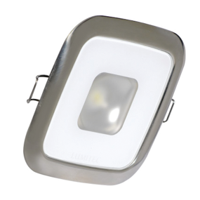 "2-5/8"" Square Mirage Recessed LED Down Light - White w/ Polished SS Trim"