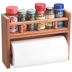 Teak Paper Towel Rack with Spice Rack
