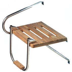 Teak Outboard Platform with Ladder and Mounting Hardware