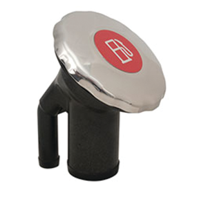 EPA Compliant Sealed Ratcheting Stainless Steel Scalloped Cap Angled Neck Fuel Fill - with Metallic Decal