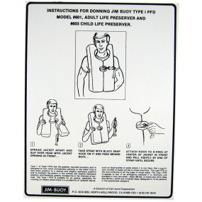 PFD Donning Instructions Placard