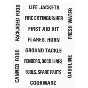 ASSORTED STOWAGE LOCKER LABELS