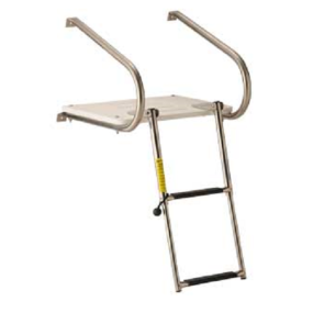 Transom Platform with Double Rail Telescoping Ladder, 2 Steps