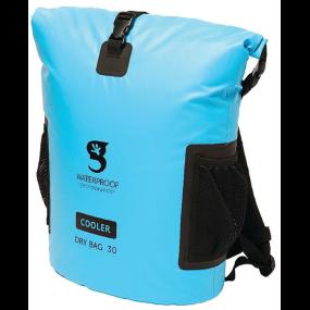 Blue Cooler Bag Front View of Geckobrands Backpack Dry Bag Cooler
