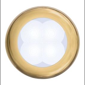 "Slim Line LED Round 3"" Lamps - White Light, Gold Trim"