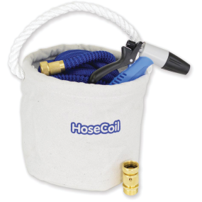 Canvas Bucket Kit w/ 75ft Expandable Hose, Nozzle & Quick Release