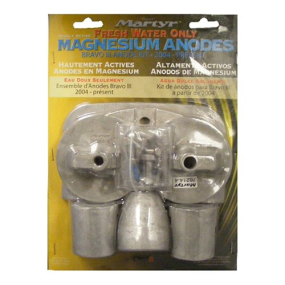 Front View of Martyr Magnesium Anode Kit for Merc Bravo 3 2004 - Present