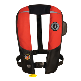 Red and Black Version of Mustang Survival HIT Automatic Inflatable PFD - Hydrostatic Inflator Technology