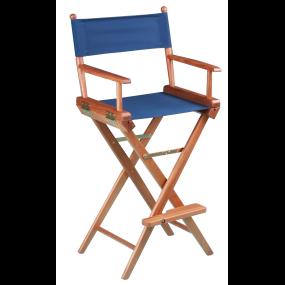 Teak Captain's Chair - Blue Seat Cover
