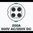 200A 600V AC/250V DC Shore Power Cordset Female Connector 2