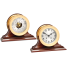 "6"" Brass Ship's Bell Clock & Barometer on Wood Bases - Matched Set 1"