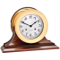 "6"" Brass Shipstrike Clock & Ship's Bell Barometer on Wood Bases - Matched Set 3"