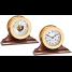 "6"" Brass Shipstrike Clock & Ship's Bell Barometer on Wood Bases - Matched Set 1"