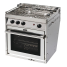 angled view of Force 10 Marine Gas Stove with Three Burner Cooktop
