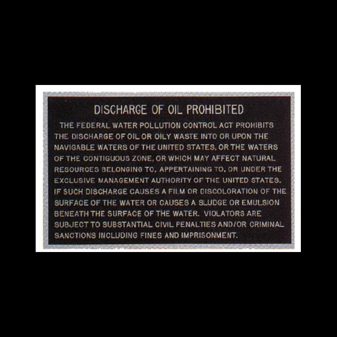 Oil Discharge Plaque