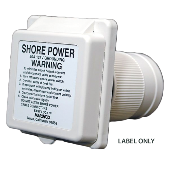 ABYC Shore Power Warning Label