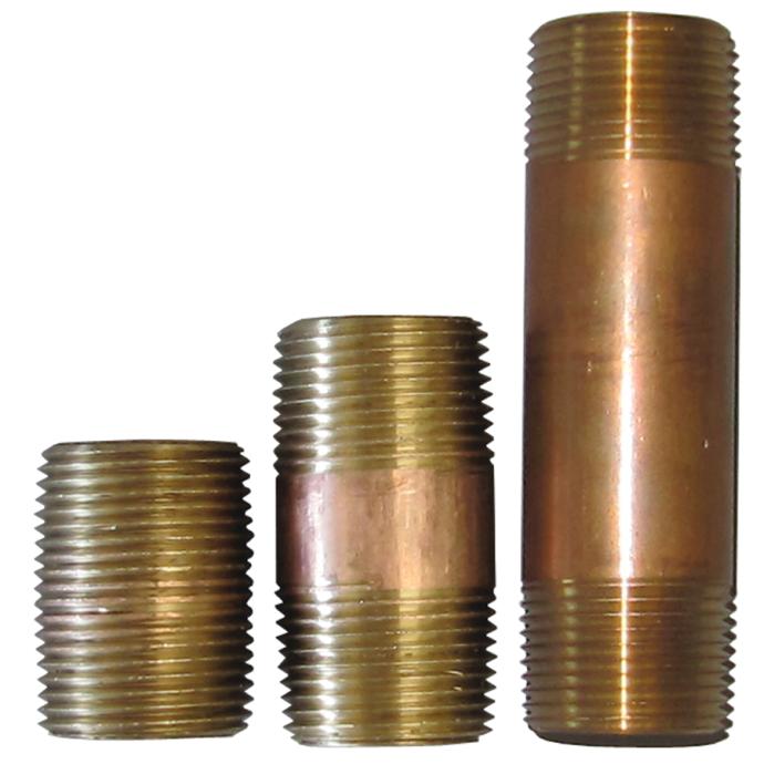 1/8 Inch Red Brass NPT Steel Nipples