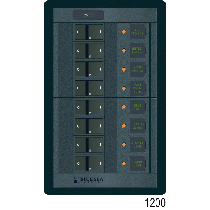 360 Panel Systems DC - 16 Positions with Analog Amp & Voltmeters, Black Toggle DC 16 Position