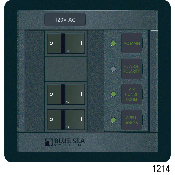 360 Panel System DC Breakers No Meters - 4 Positions, Black Toggle
