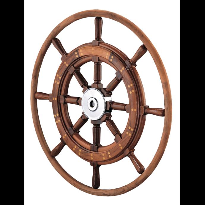 Teak Yacht Wheel with Teak Rim 1