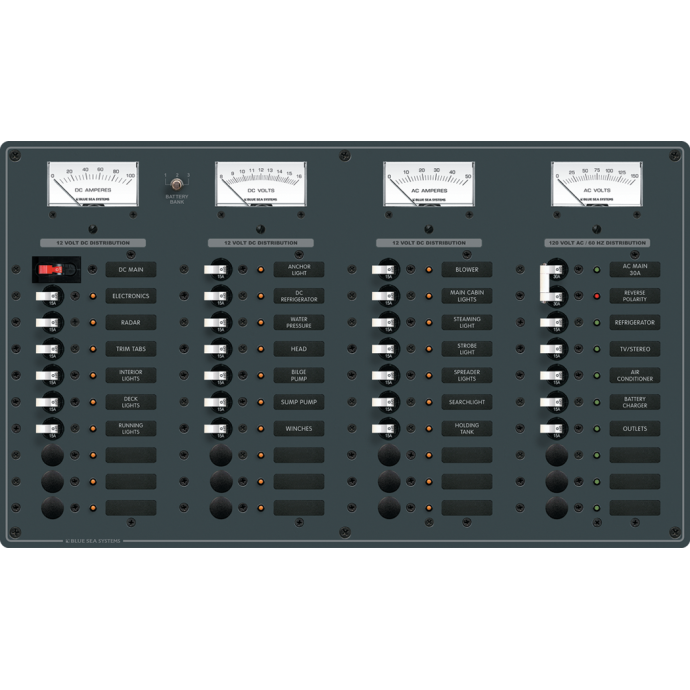 AC Main + 8 Positions/DC Main + 29 Positions Circuit Breaker Panel