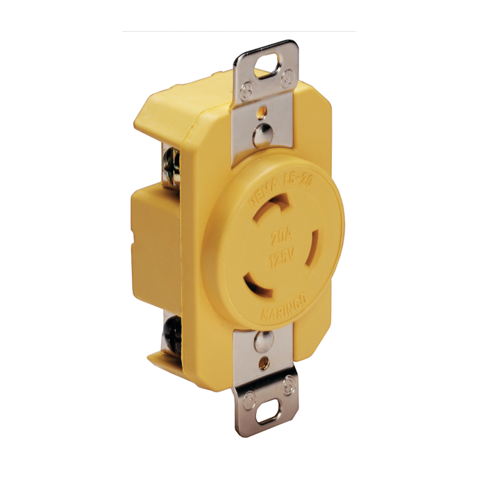 20A 125V Locking Shore Power Outlet Receptacle