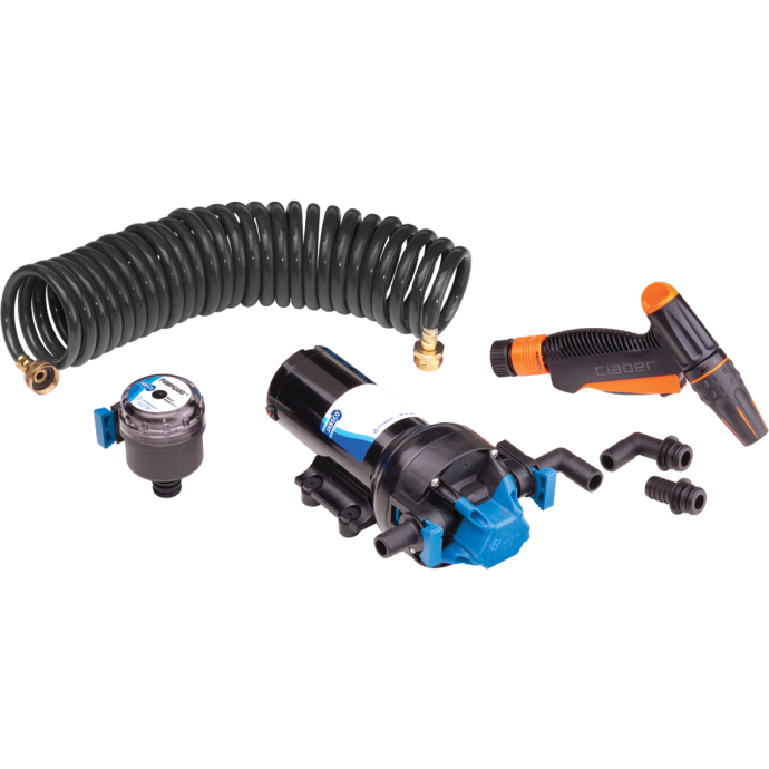 4 GPM HotShot Washdown Kit - 24V DC, with 2 Hose Barbs, Strainer, Nozzle -AMPAND- 25 ft. Hose