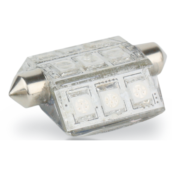 """Nav Bulb - 9 LED Pointed Festoon - 10-30V DC, 42mm, 1.65"""", 2 nm 1"""