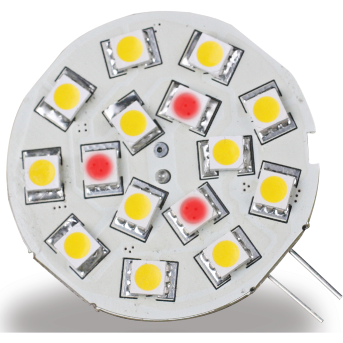 Discontinued: G4 Side Pin White/Red 15 LED Light Bulb 1