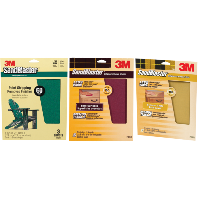 SandBlaster Sandpaper Sheets with No-Slip Grip Backing - Retail Packs 1