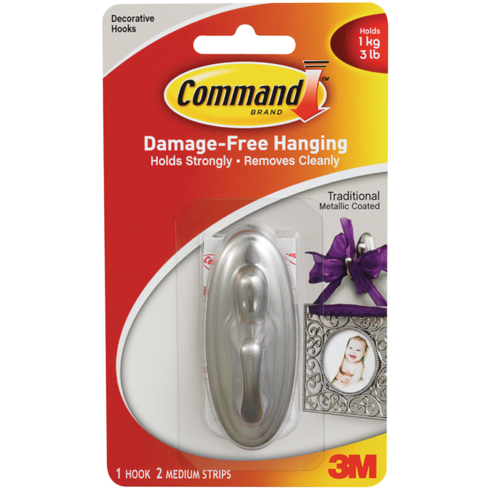 Command Traditional Plastic Hook - Adhesive Backed 1