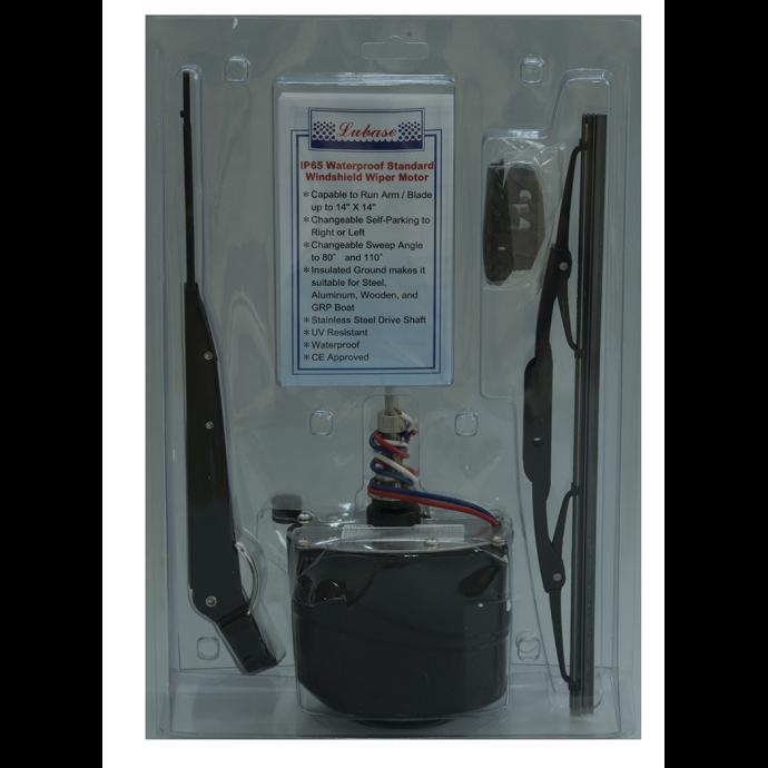 Light Duty Waterproof Wiper Motor Kit with Arm & Blade - Black Motor Case 1