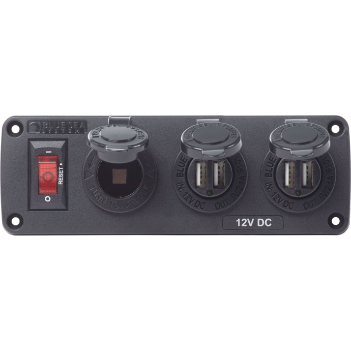 Discontinued: BelowDeck DC Panel - 12V Socket + USB Chargers 1