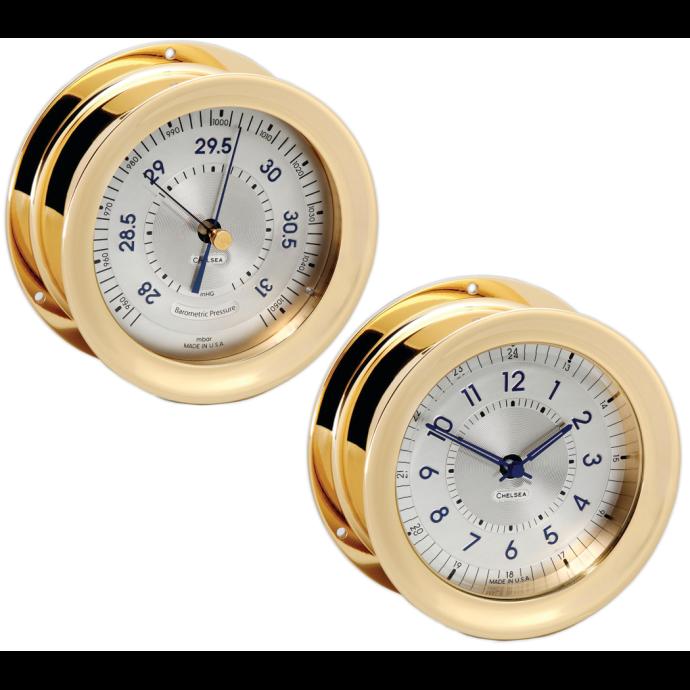 Polaris Brass 12/24 Clock & Barometer Set 1