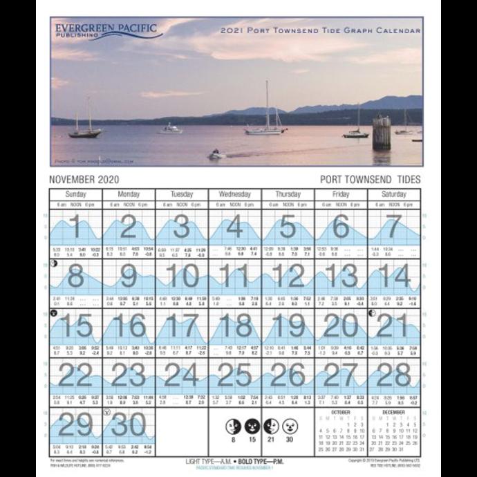 2021 Port Townsend - San Juans Tide Graph Calendar