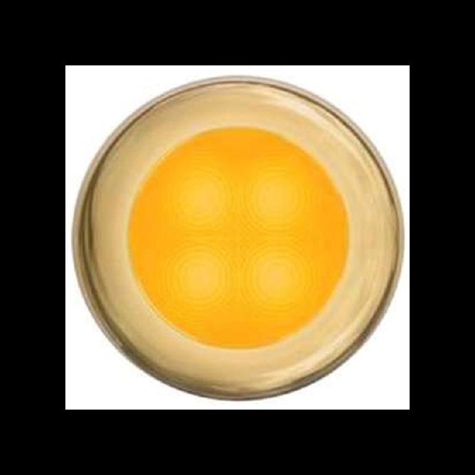 "Slim Line LED Round 3"" Lamps - Amber Light, Gold Trim"