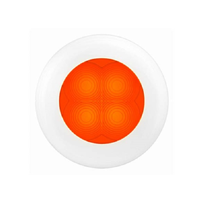 "Slim Line LED Round 3"" Lamps - Orange Light, White Trim"