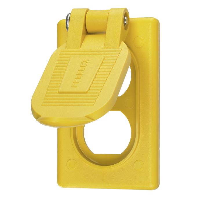 open of Hubbell Weatherproof Lift Cover for Duplex Receptacles - Device Mount
