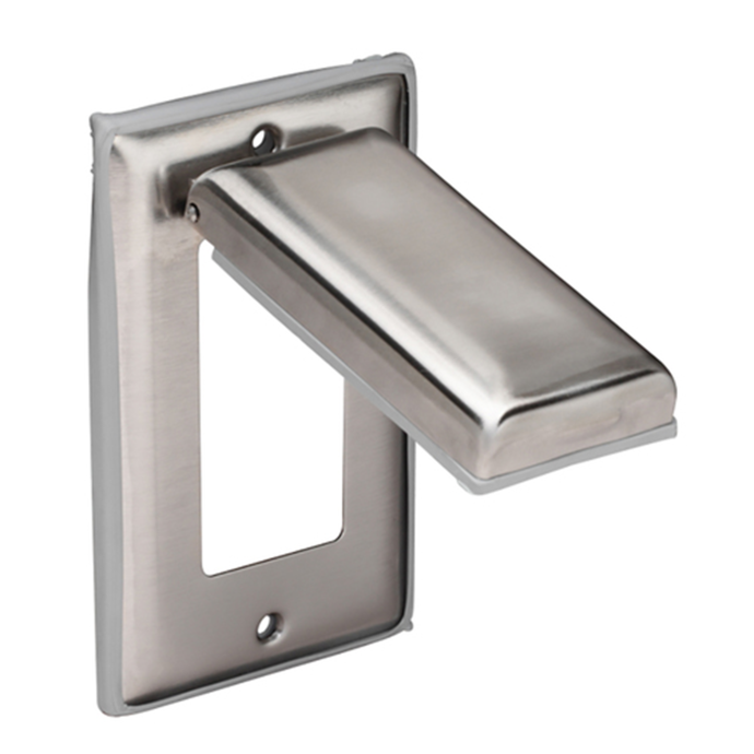 angle view of Marinco Stainless Steel Weatherproof GFCI Duplex Receptacle Cover with Lift Lid