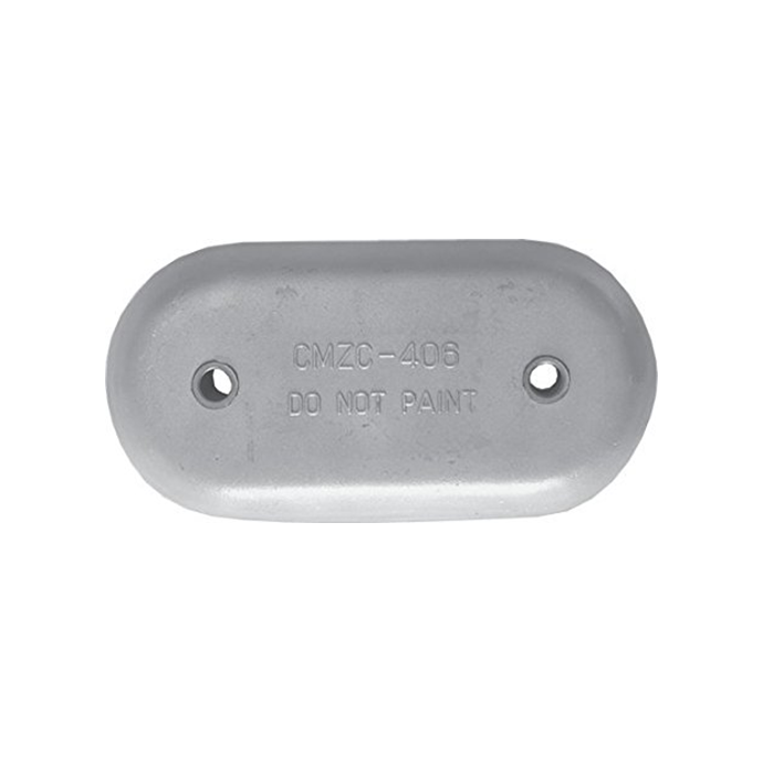 """FRONT VIEW of Martyr MZC406 Rounded Oval 9"""" Plate Anode - Aluminum"""