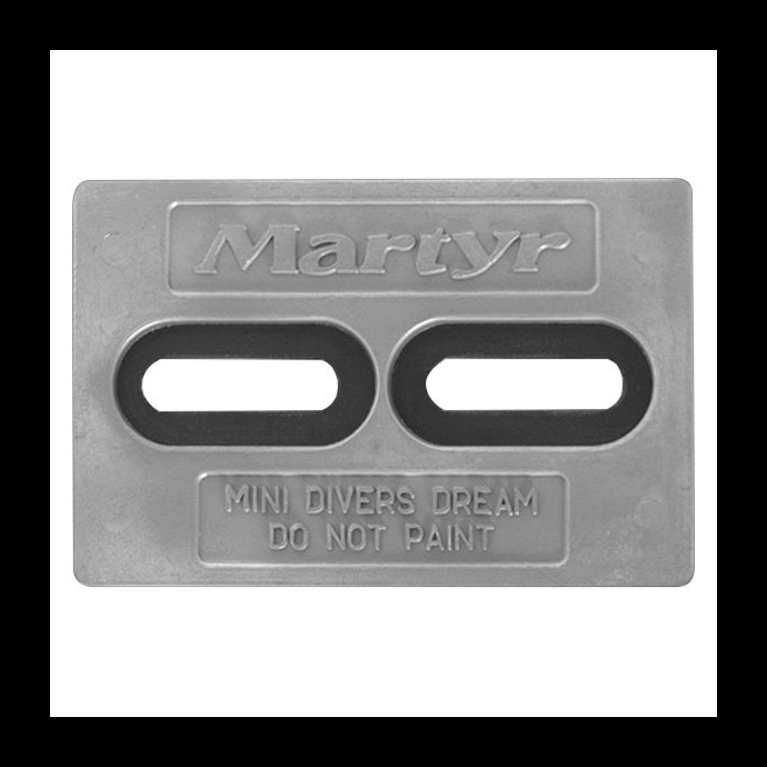 front view of Martyr Mini Diver Plate Anode - Aluminum