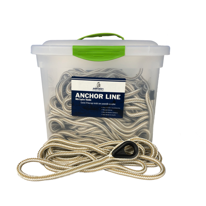 Samson HarborMaster Double Braid Nylon Anchor Lines - White and Gold