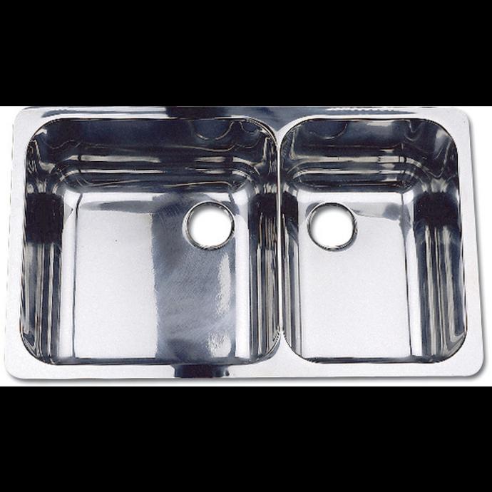 10233 of Scandvik Rectangle Asymmetric Double Sink - Mirror Finish