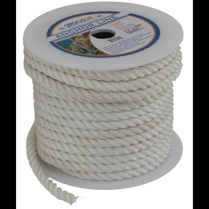 Bulk Cordage - 3-Strand Twisted Nylon Anchor or Dock Rope 1
