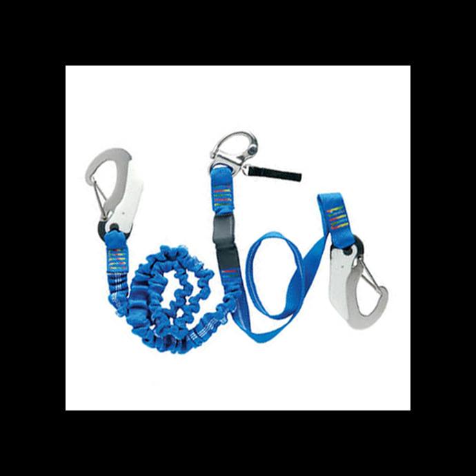 Wichard OSR Safety Tether - 1 Snap Shackle, 2 Safety Hooks, 1 Elastic & 1 Fixed Leg