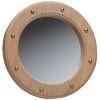Teak Frame Porthole Mirror