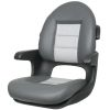 Elite Helm Seat High Back Boat Seat - Black Shell - Charcoal/Gray Cushion