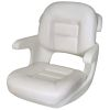 Elite Helm Seat Low Back Boat Seat - White Shell - White Cushion